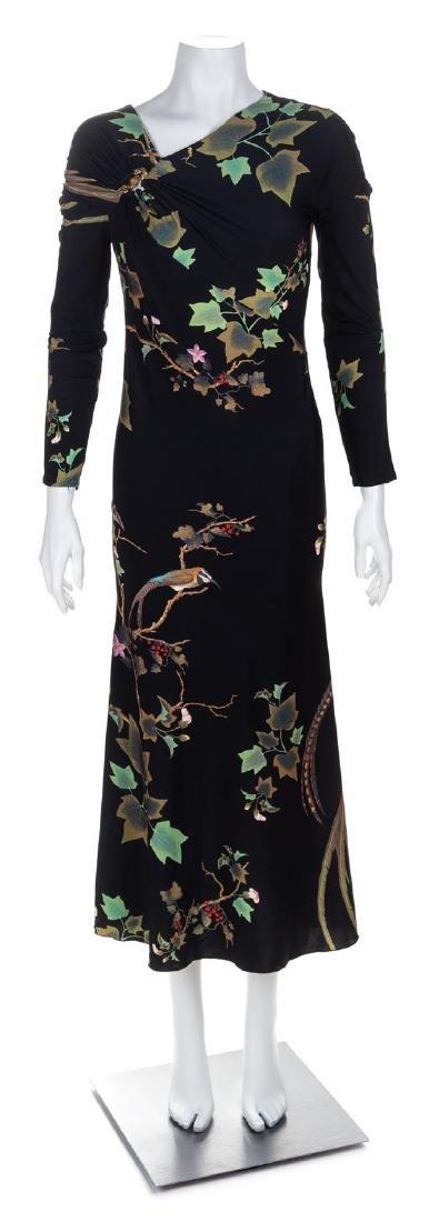 A Roberto Cavalli Black Leaf Print Dress, No size.