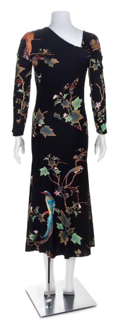 A Roberto Cavalli Black Leaf Print Dress, No size. - 3