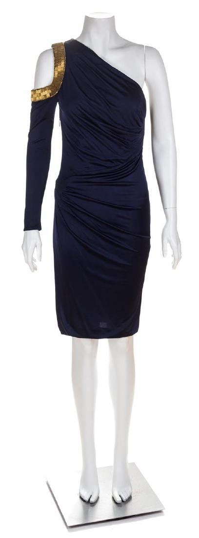 A Roberto Cavalli One Shoulder Navy Dress, Size 38.
