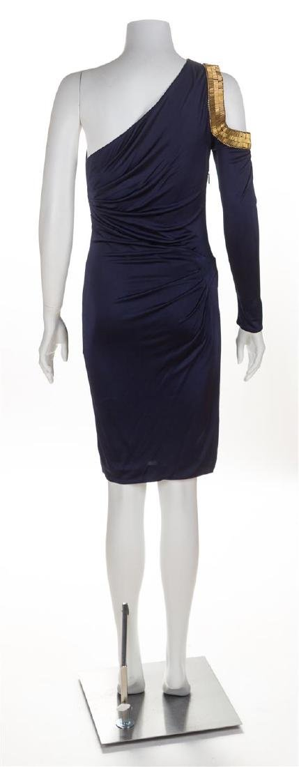 A Roberto Cavalli One Shoulder Navy Dress, Size 38. - 2