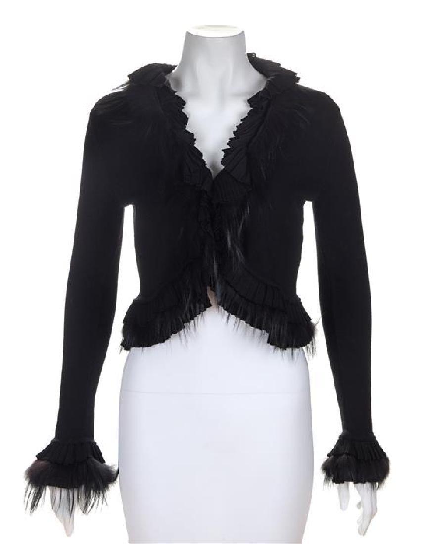 A Roberto Cavalli Black Knit Shrug with Fur Trim, Size