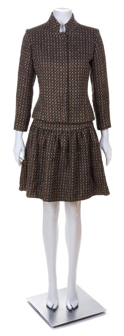 A Rudi Gernreich Wool Patterned Skirt Suit, No size.