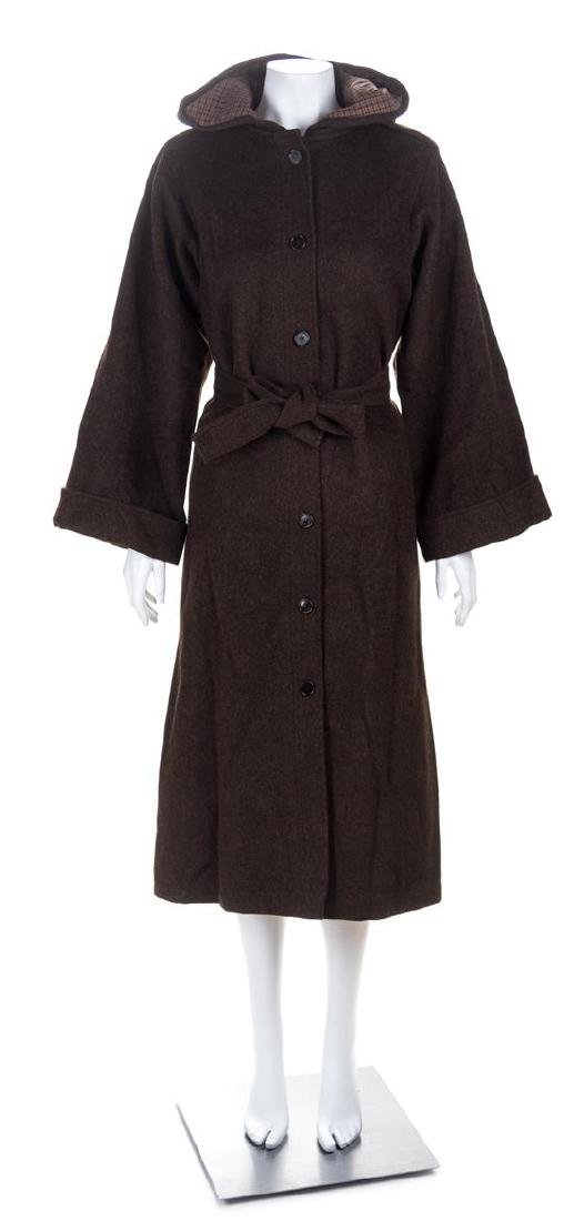 A Saint Laurent Brown Wool Hooded Coat, Size 38.