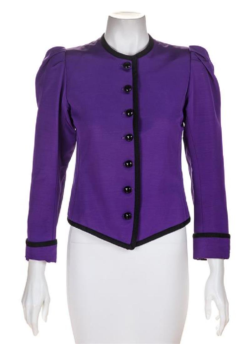 A Saint Laurent Purple Silk Jacket, Size 34.