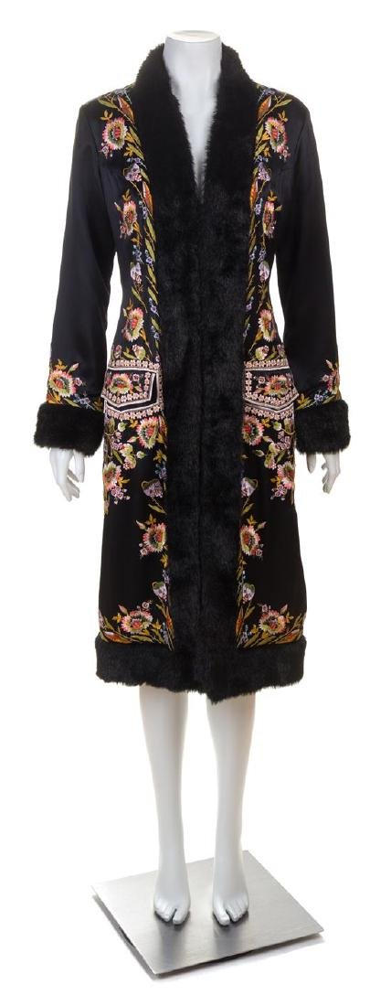 A Sue Wong Black Silk Embroidered Coat with Faux Fur