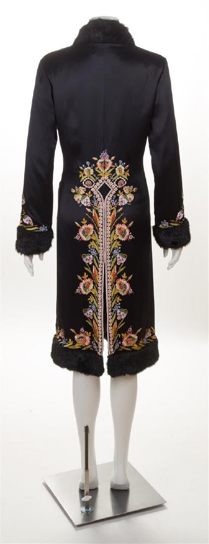 A Sue Wong Black Silk Embroidered Coat with Faux Fur - 2