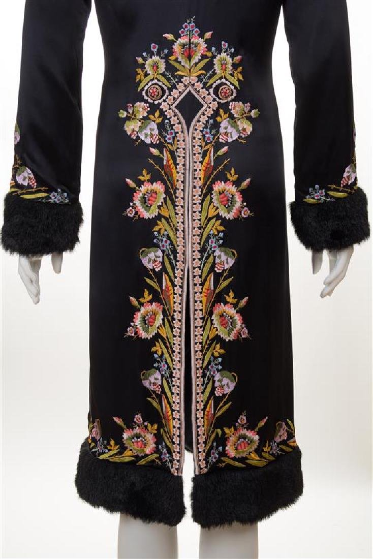 A Sue Wong Black Silk Embroidered Coat with Faux Fur - 3