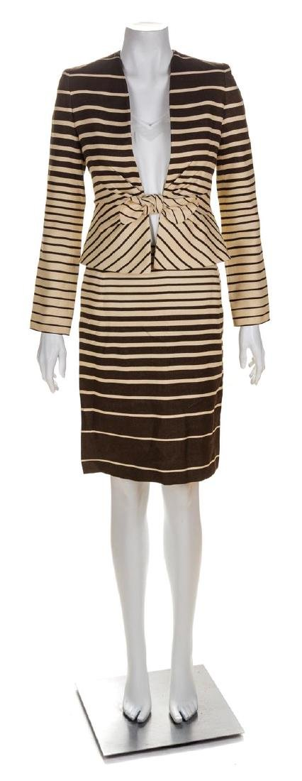 A Valentino Brown and Cream Linen Striped Skirt Suit,