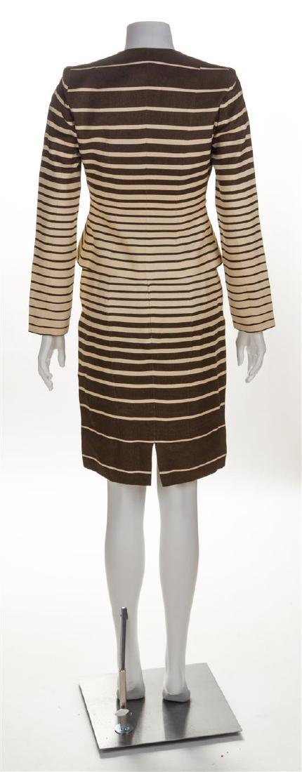 A Valentino Brown and Cream Linen Striped Skirt Suit, - 2