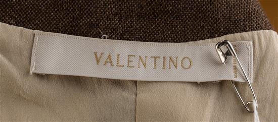 A Valentino Brown and Cream Linen Striped Skirt Suit, - 3