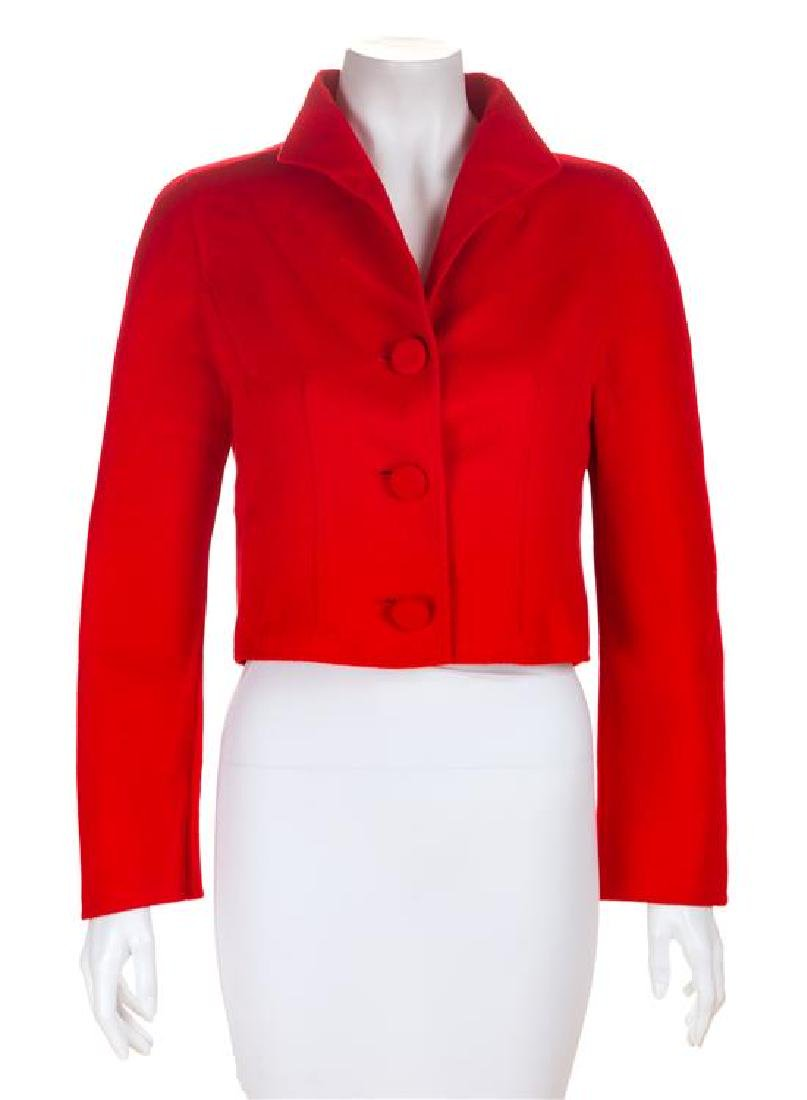 A Valentino Red Wool Bolero Jacket, No size.