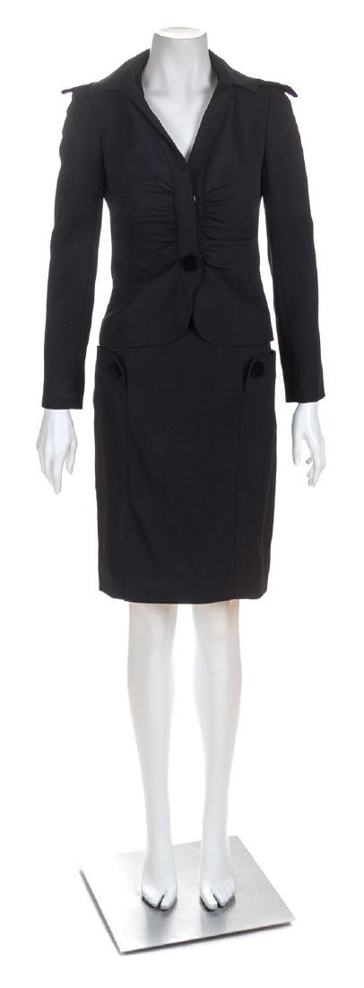 A Valentino Black Wool Skirt Suit, Size 2.
