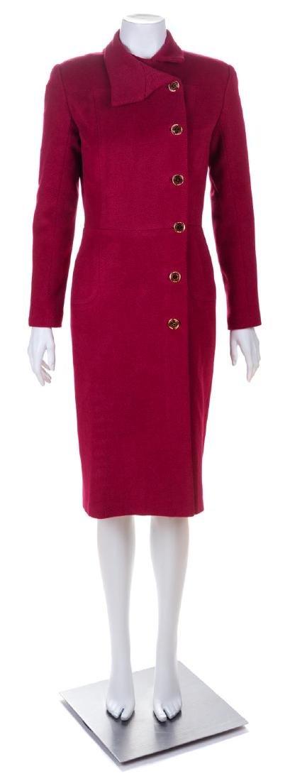 A Valentino Raspberry Wool Coat Dress, No size.