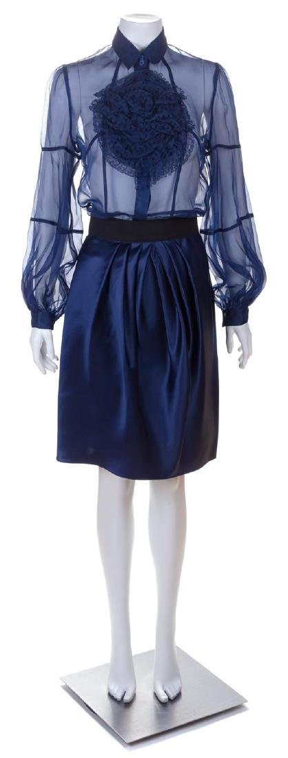 A Valentino Blue Silk Skirt Ensemble, Skirt size 6;