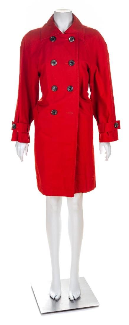 An Yves Saint Laurent Red Cotton Double Breasted Trench