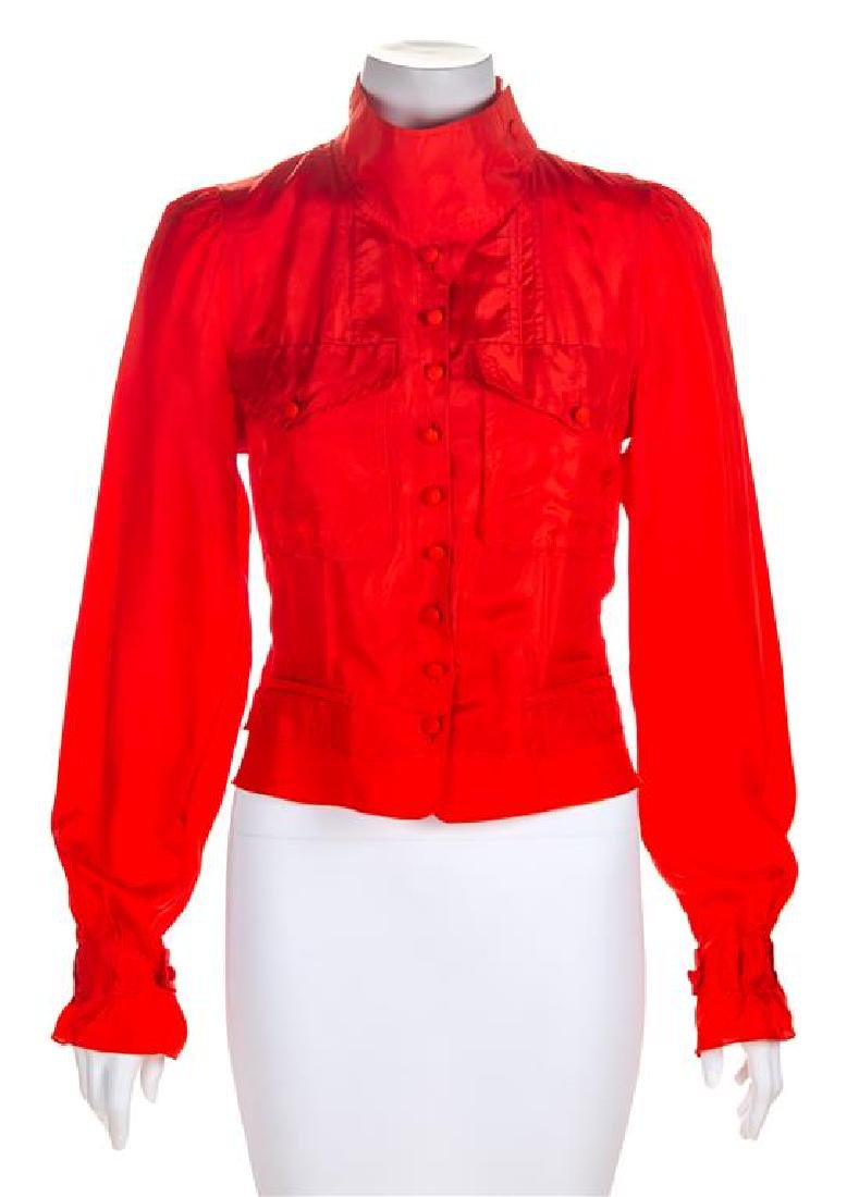 An Yves Saint Laurent Red Silk Blouse, Size 38.