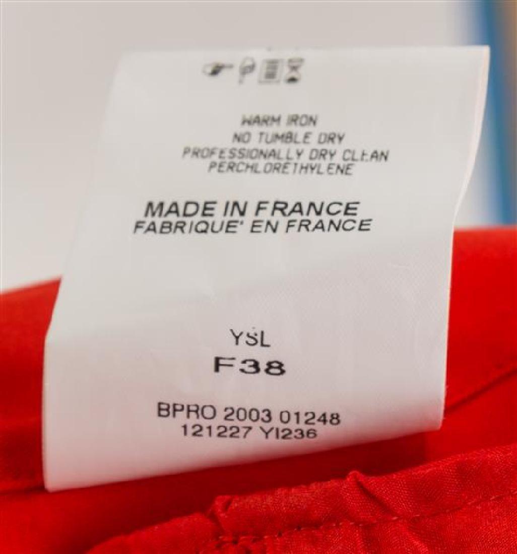 An Yves Saint Laurent Red Silk Blouse, Size 38. - 3