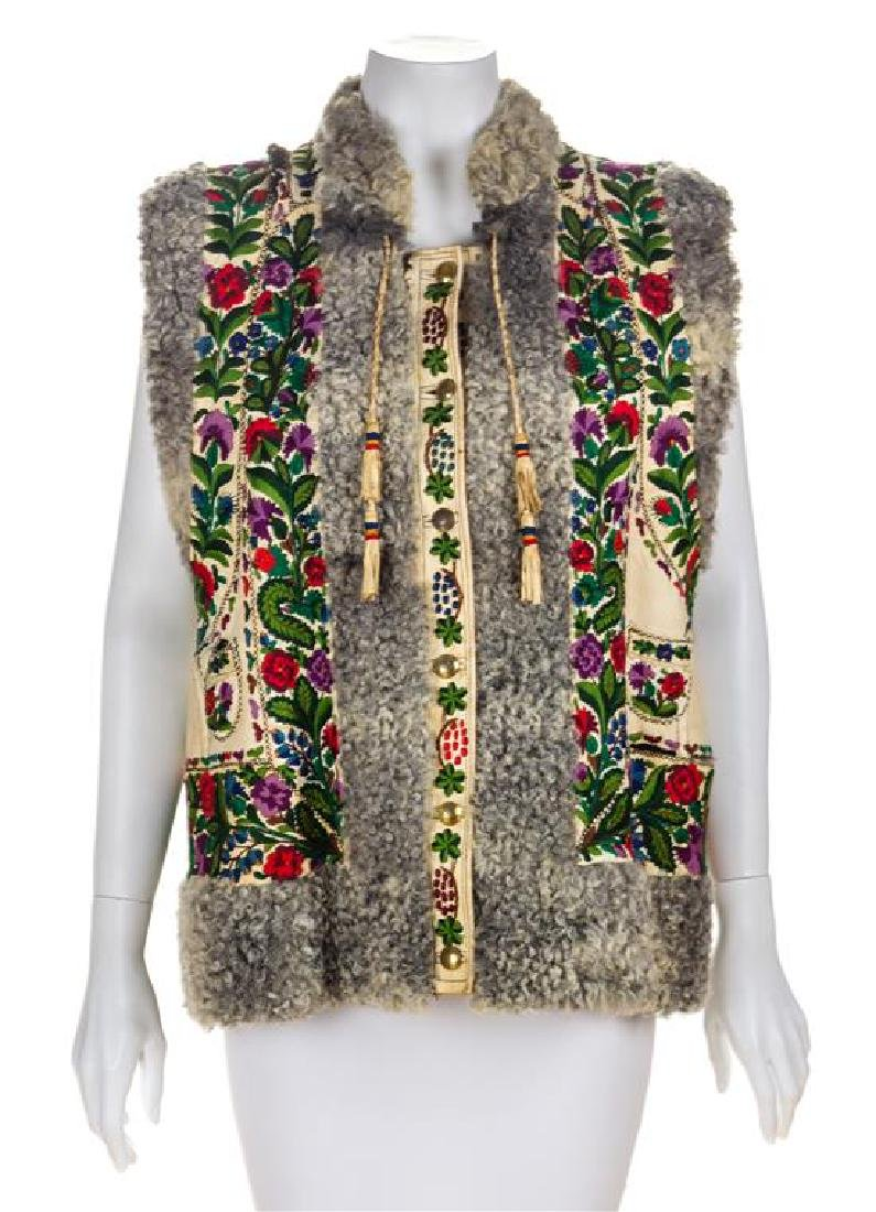 A Lamb Embroidered Leather Vest, No size.
