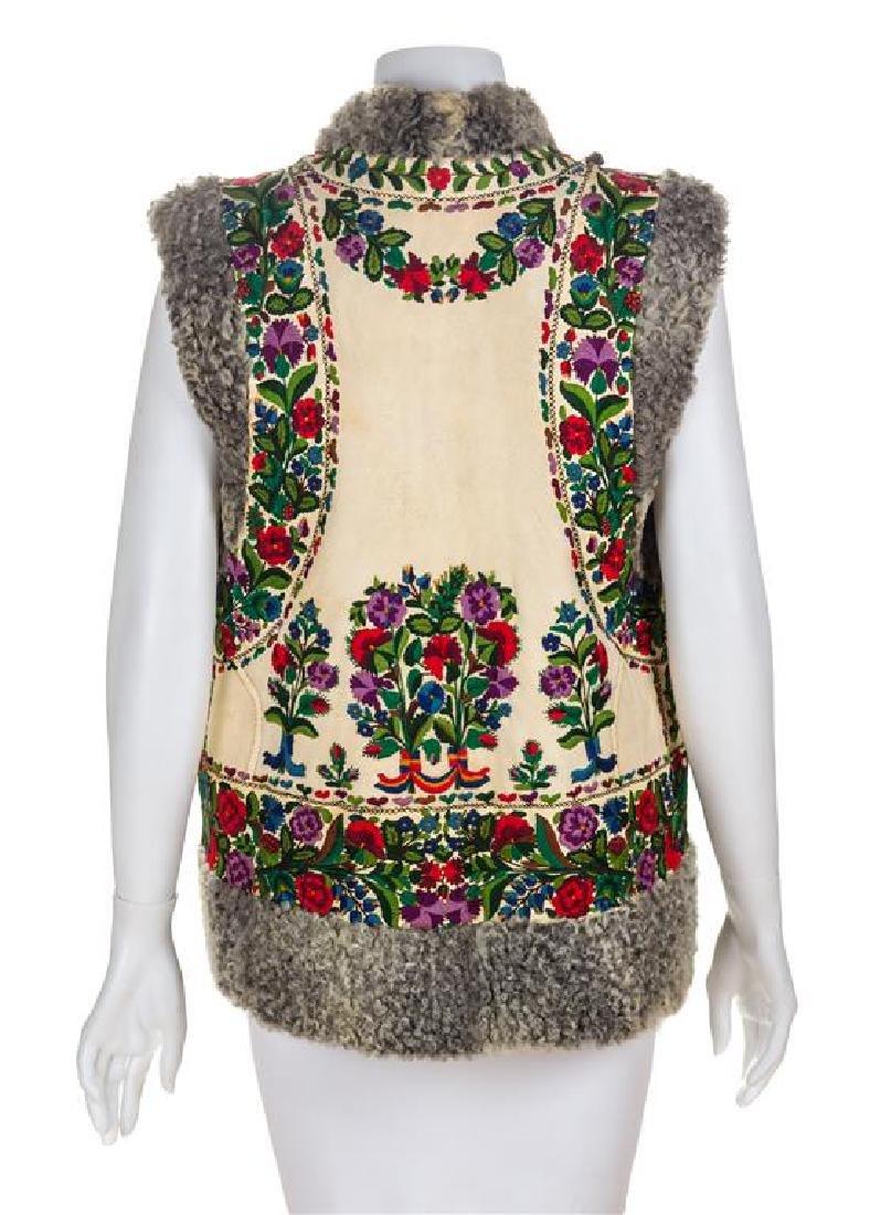 A Lamb Embroidered Leather Vest, No size. - 2