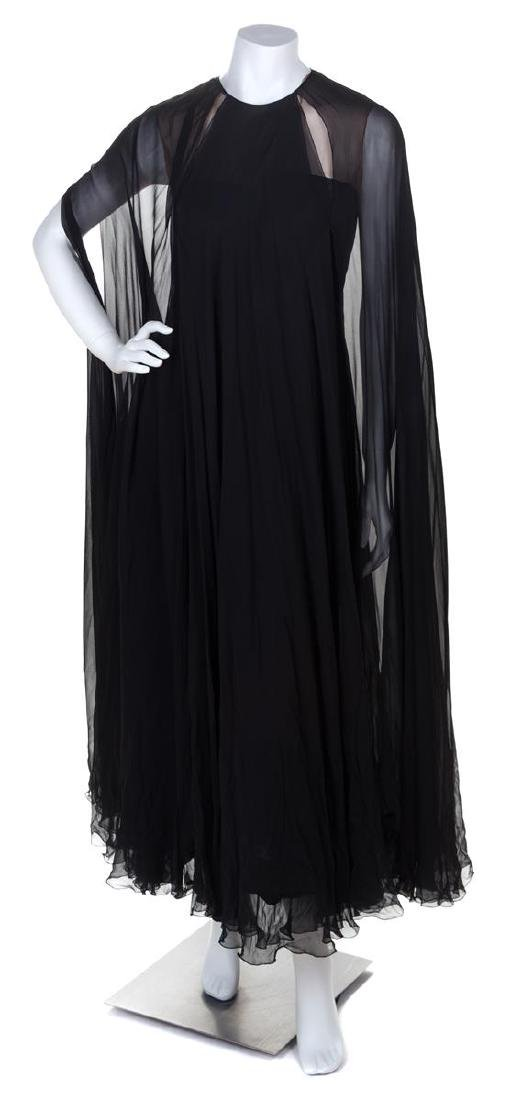 * A Black Silk Sleeveless Layered Gown, No size.