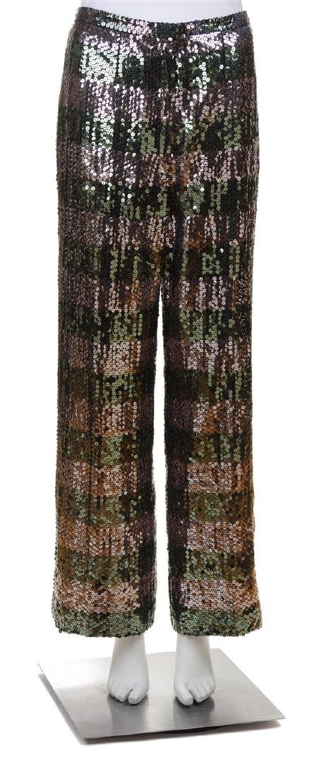 * A Pair of Green and Silver Sequin Striped Evening