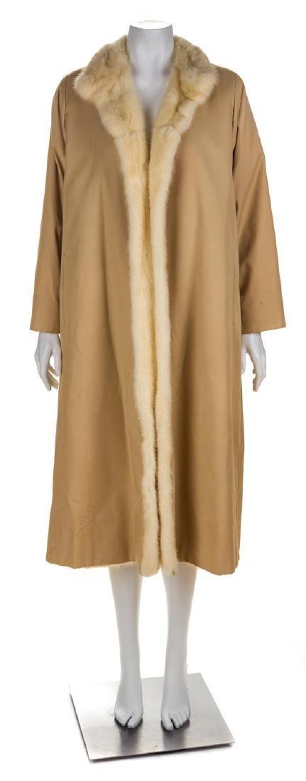 * A Maximilian Tan Cream Mink Lined Trench Coat, No