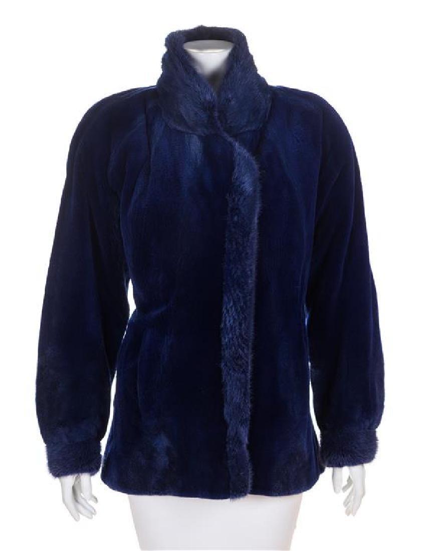 A Blue Mink Sheared Jacket, No size.