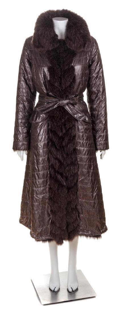 A Diego M Pewter Quilted and Fox Lined Reversible Coat,