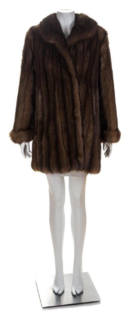 A Neiman Marcus Brown Sable Swing Coat, No size.