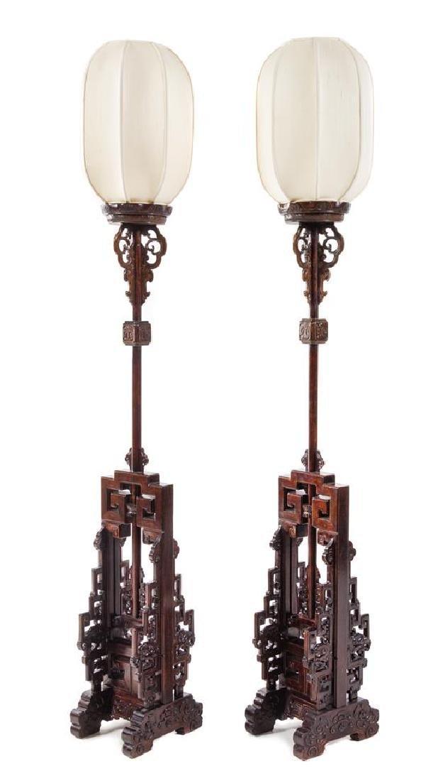 * A Pair of Chinese Hongmu Lamp Stands, Dengtai Height