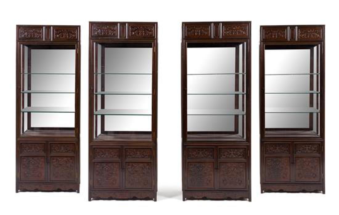 * A Set of Four Chinese Zitan Veneer Hardwood Display