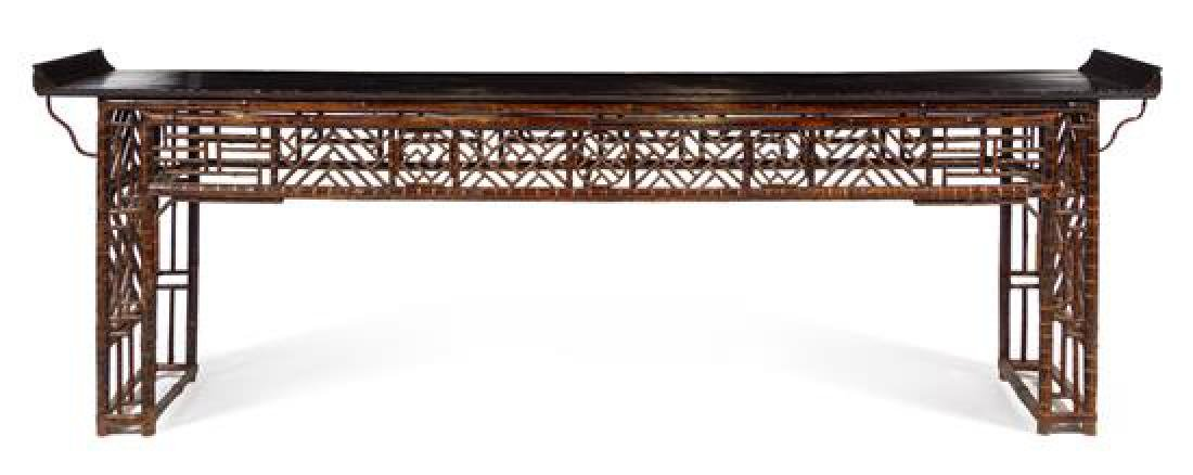 * A Large Chinese Bamboo and Lacquer Altar Table,