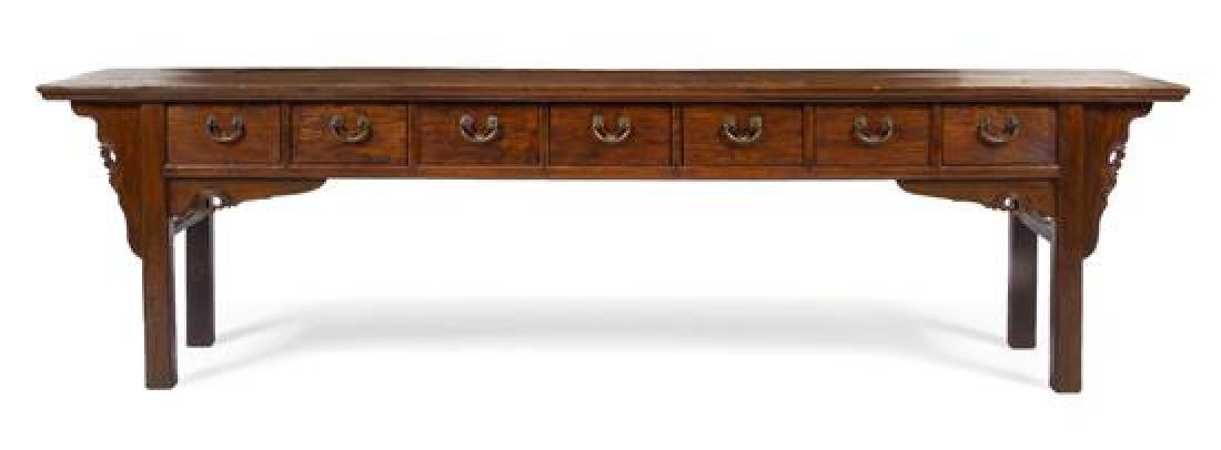 * A Large Chinese Elmwood Scholar's Table, Shuzhuo