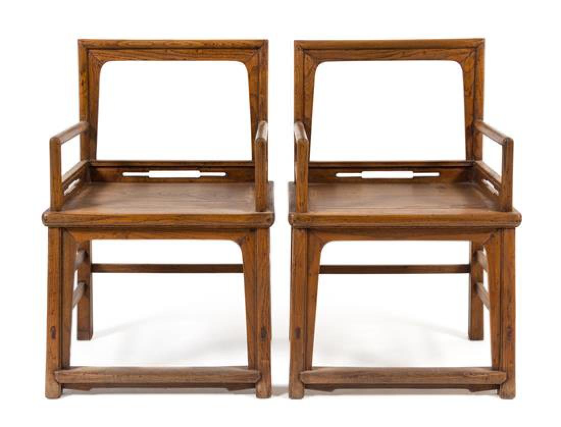 * A Pair of Chinese Elmwood Armchairs, Meiguiyi Height