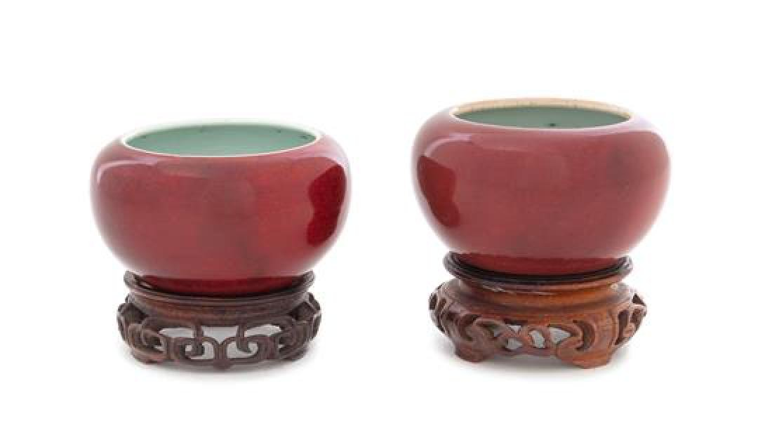 * A Pair of Chinese Sang-de-Boeuf Glazed Porcelain