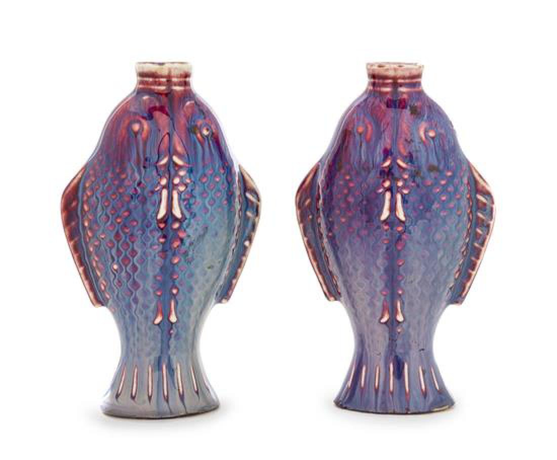 * A Pair of Chinese Flambe Porcelain Fish-Form Vases
