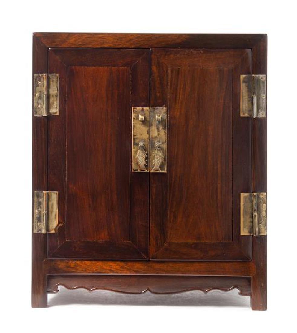 * A Chinese Zitan Kang Cabinet, Antougui Height 13 3/4