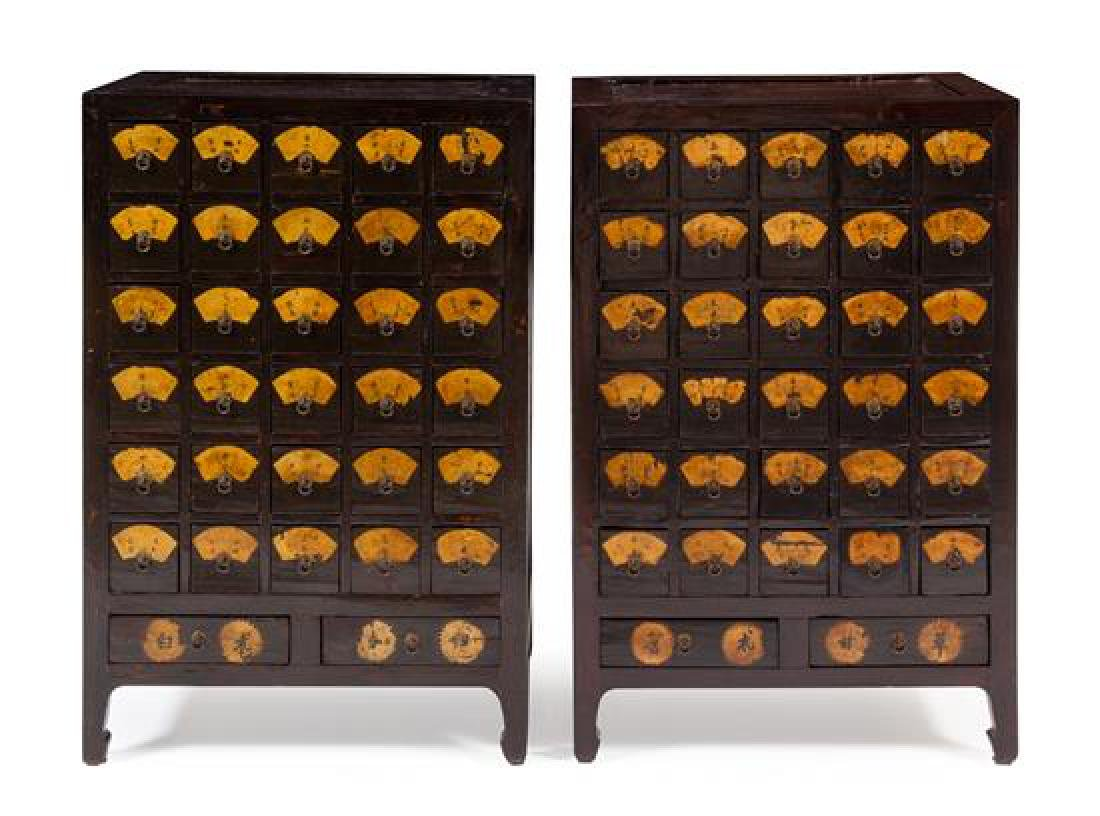 * A Pair of Chinese Huanghuali Inset Elmwood Apothecary