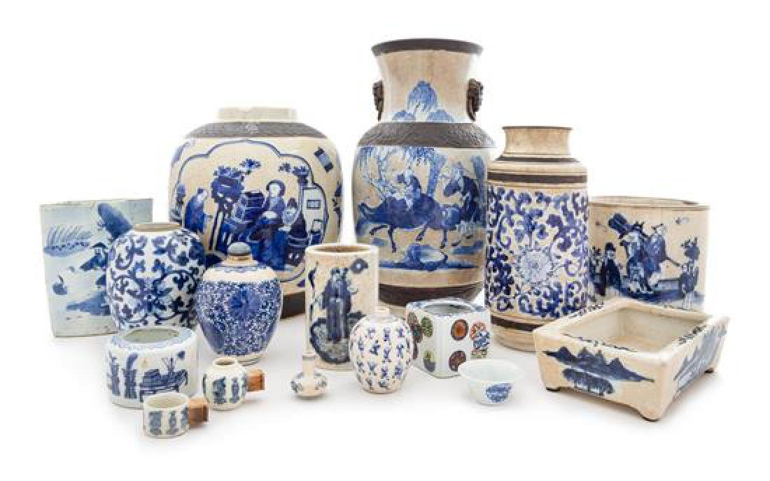 * Sixteen Chinese Blue and White Porcelain Articles