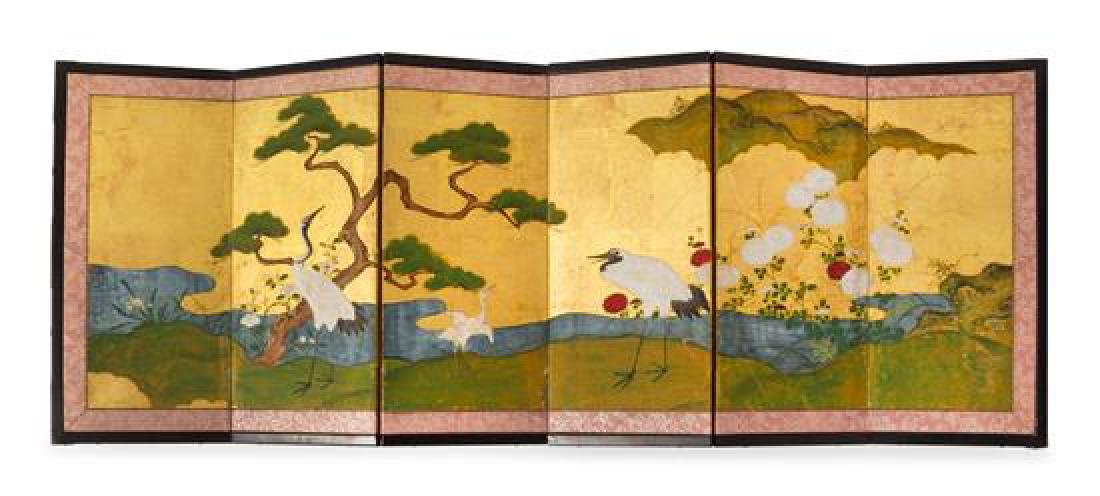 * A Small Japanese Six-Panel Screen Height 15 x width