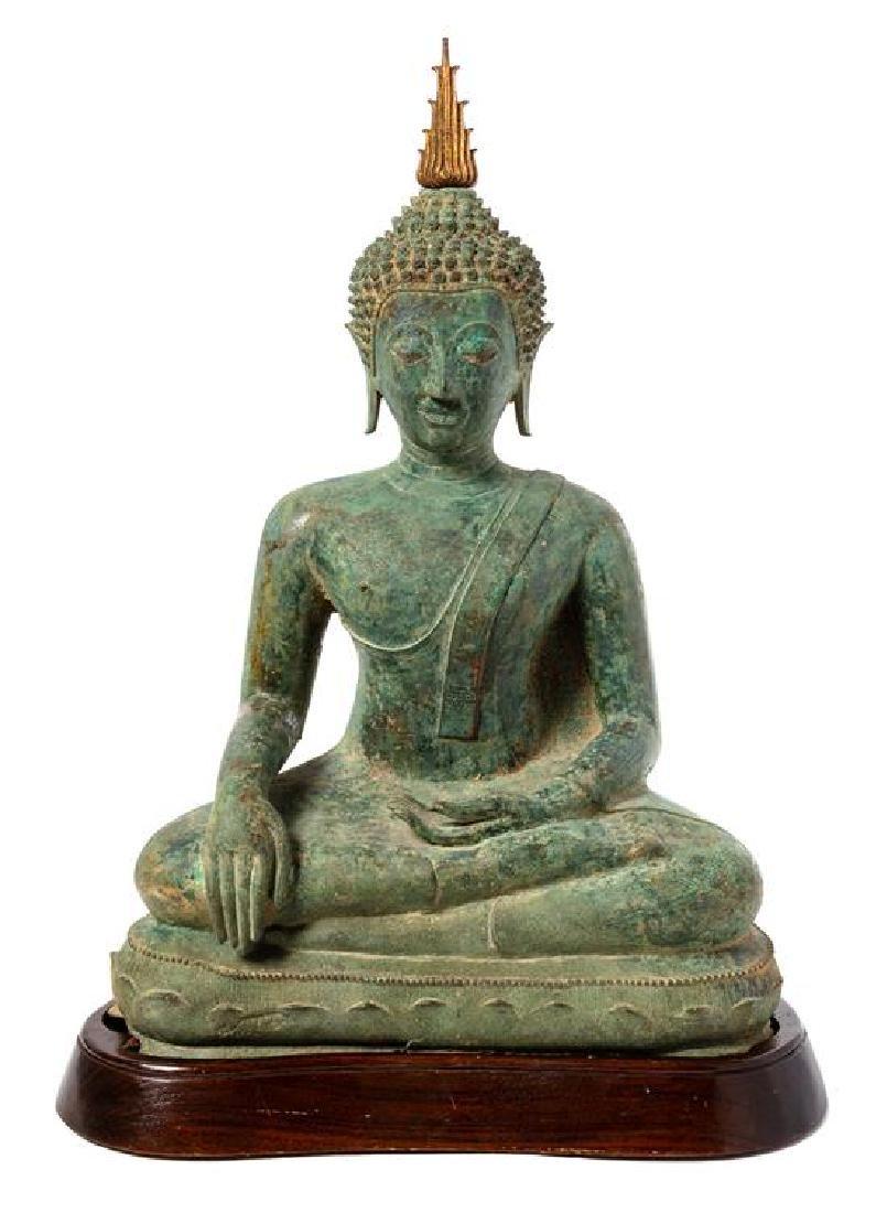 * A Thai Bronze Figure of Seated Buddha Height 24