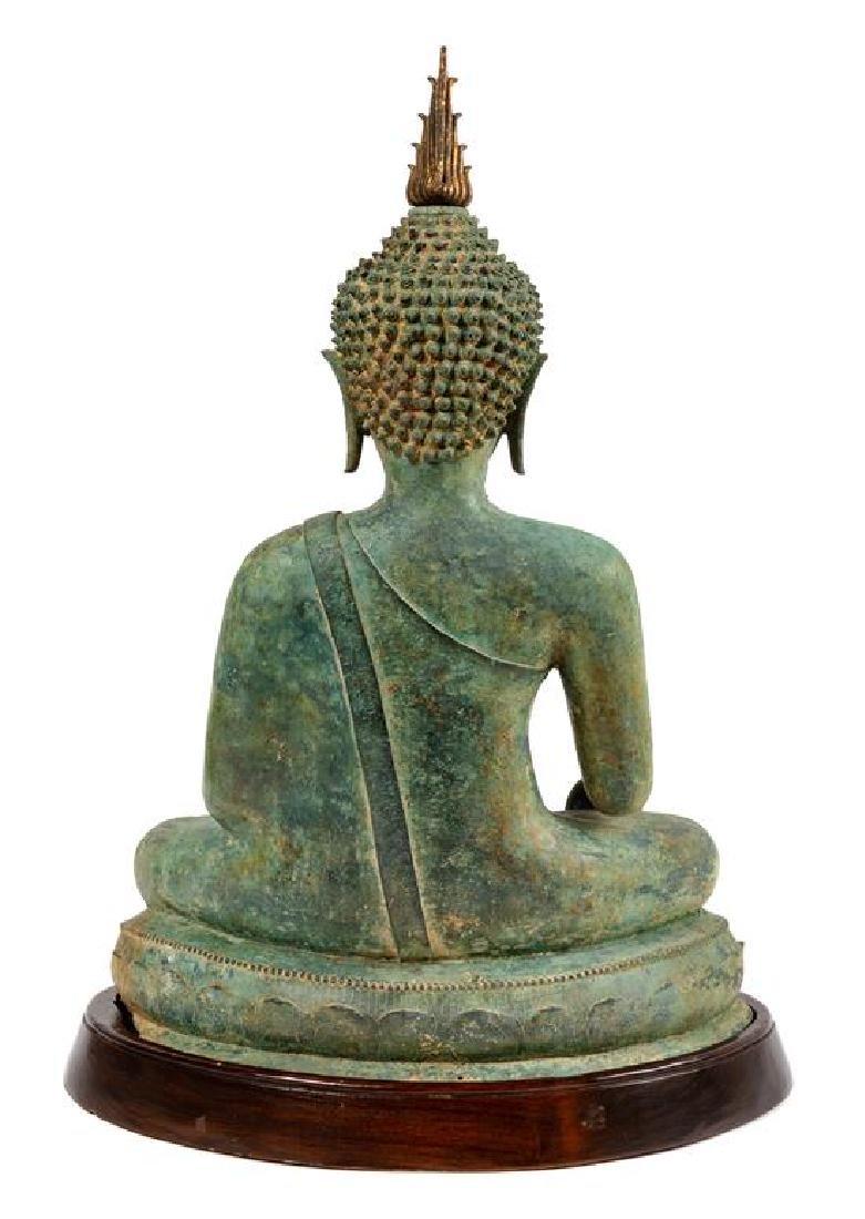 * A Thai Bronze Figure of Seated Buddha Height 24 - 2