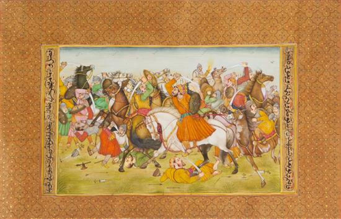 * Three Indian Miniature Paintings Largest 11 5/8 x 6
