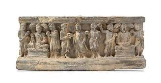 A Gandharan Schist Relief Panel Length 13 12 inches
