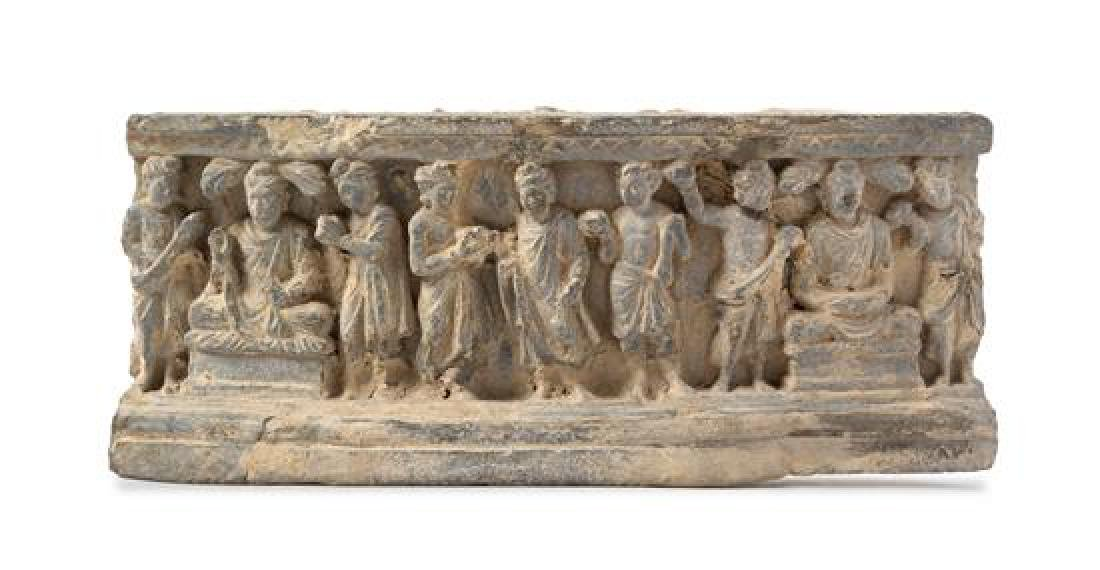 A Gandharan Schist Relief Panel Length 13 1/2 inches.