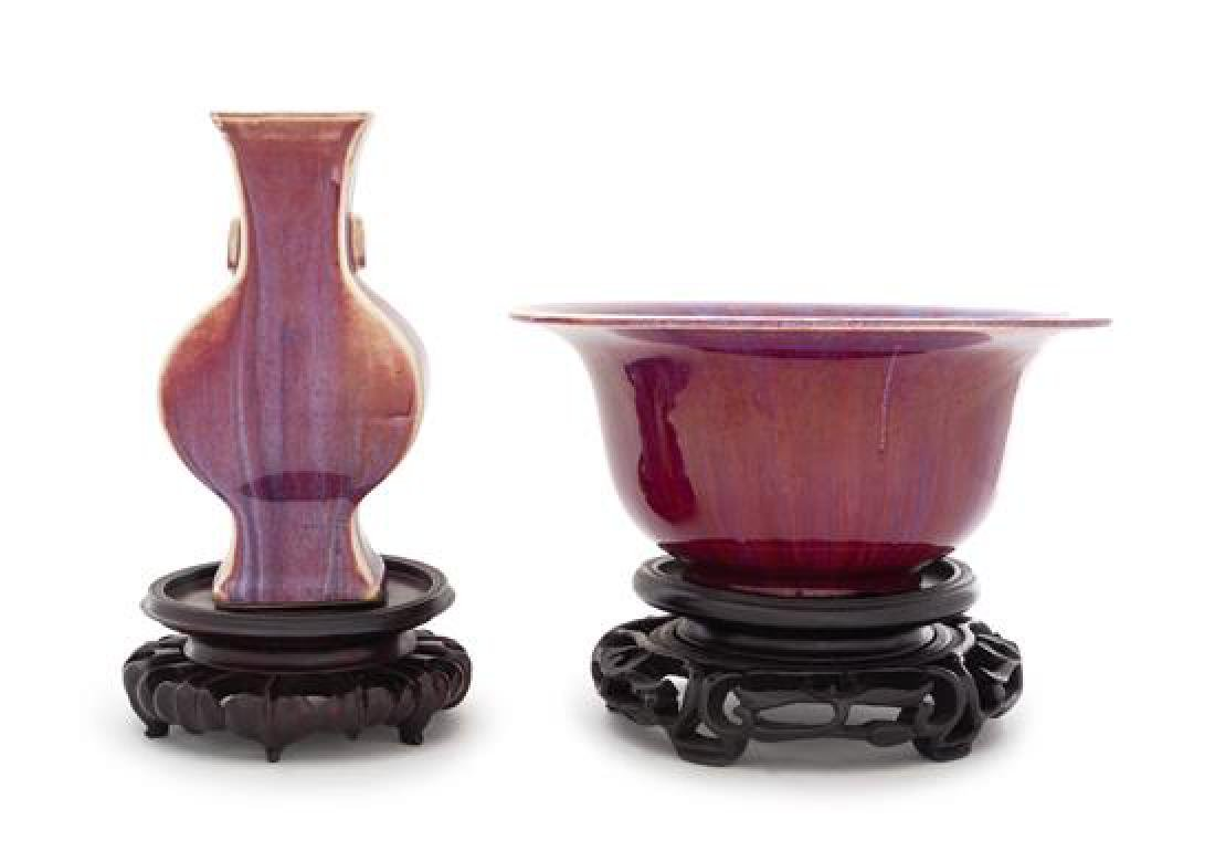 * Two Flambe Glazed Porcelain Articles Diameter of