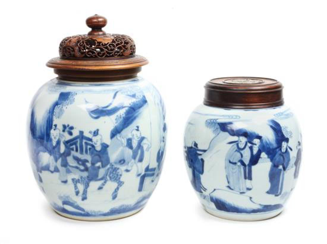 A Pair of Blue and White Porcelain Ginger Jars Height