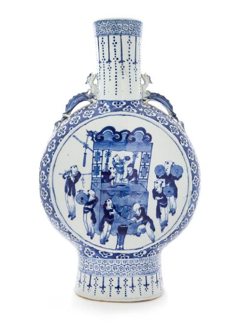 A Large Blue and White Porcelain Mook Flask Height 18
