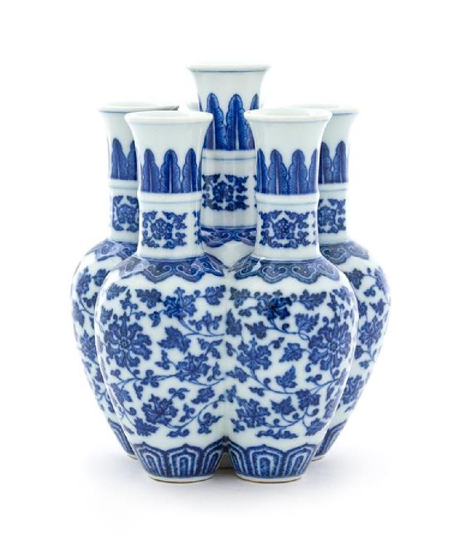 A Blue and White Porcelain Six-Spouted Vase Height 7