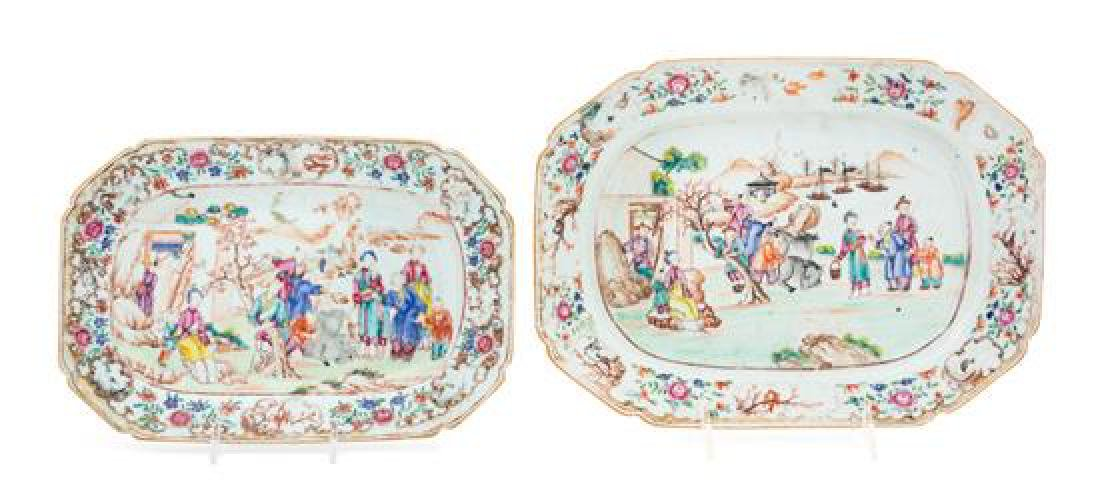 Two Chinese Export Famille Rose Porcelain Platters